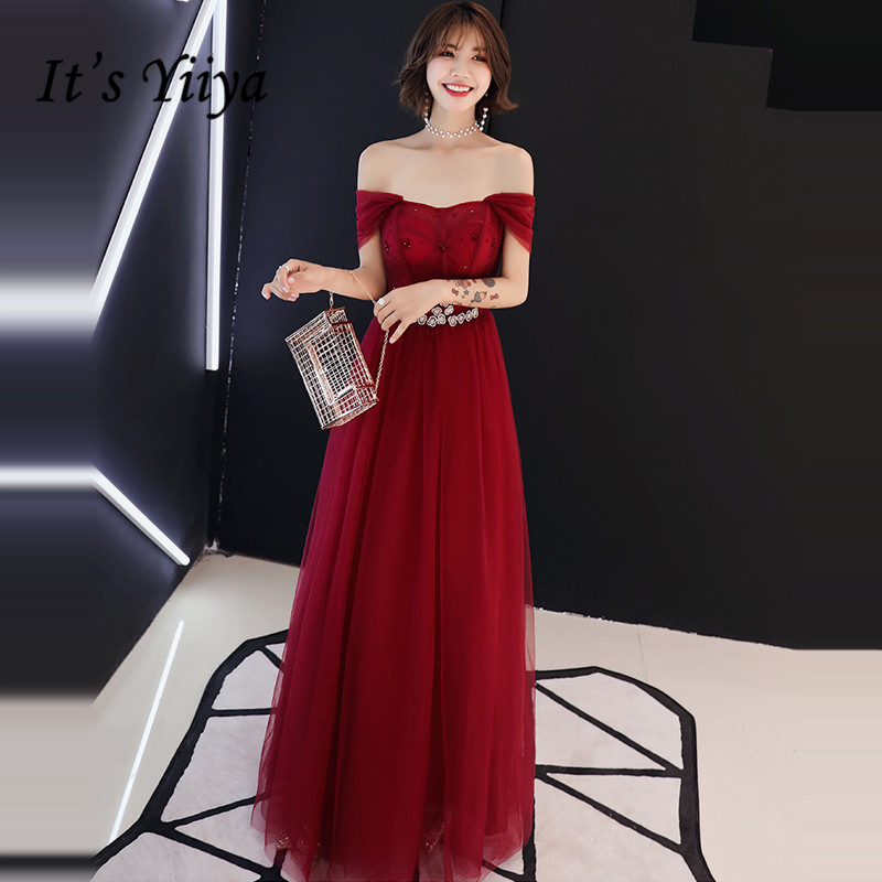 It's YiiYa   Evening     Dress   2019 Wine Red Crystal Boat Neck Illusion   Evening   Gowns Floor-length Party   Dresses   LX1338robe de soiree
