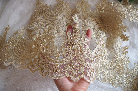 7.5 yards cord gold lace trim, gold embroidered lace trim by the yard