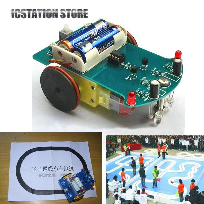 Smart Tracking Robot Car Intelligent Patrol DIY Electronics Soldering Kit with Reduction Motor TT Light Emitting Diodes 16mm dc motor driven plate stepper motor l298n intelligent robot