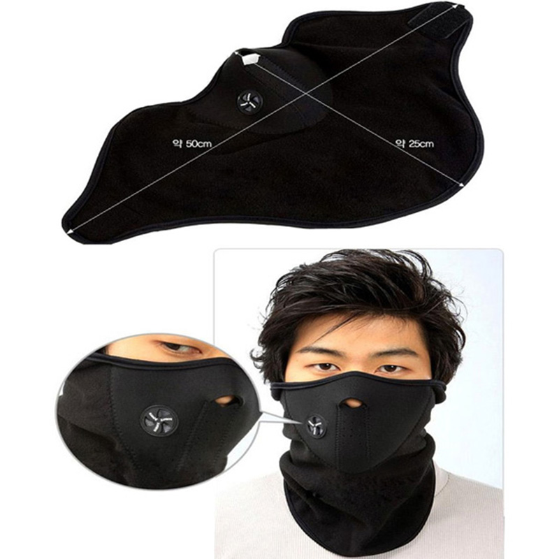 1x Neck Warm Face Mask Black Soft Exercise Mask For Sports Motorcycle MTB Road Bike Bicycle Veil Cap Face Training Winter