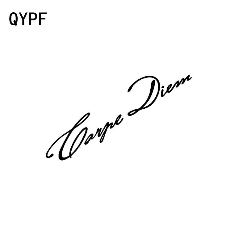 QYPF 14.4cm*8.5cm Fashion Carpe Diem English Proverb Windshield Vinyl Car Sticker Decal Black Silver C15-1198