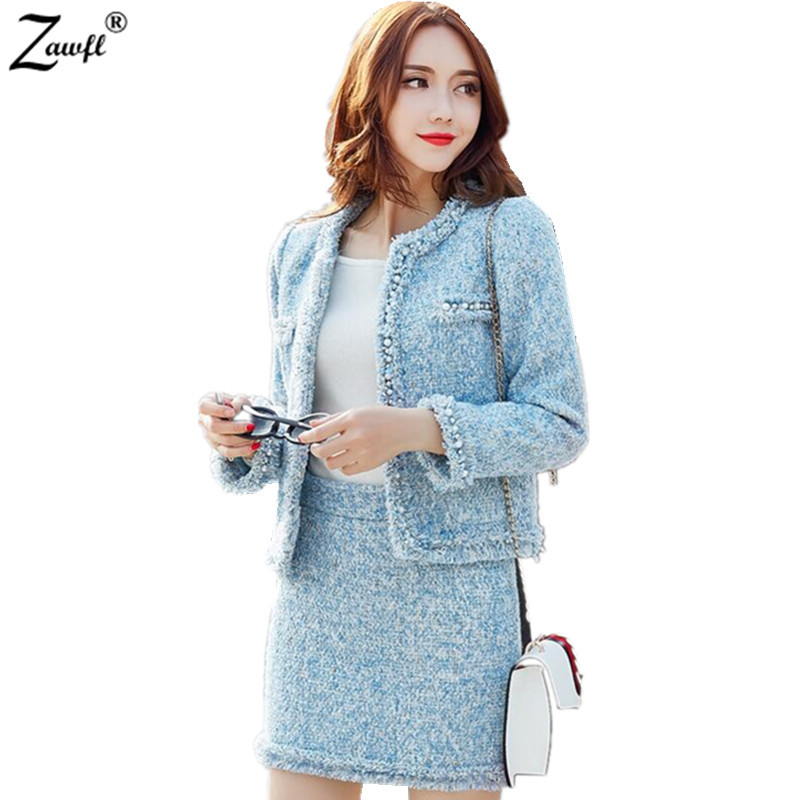 ZAWFL Autumn Winter Women Tweed Suits Fashion Tops Skirts 2 Piece Sets Female Beaded Woolen Coat And Skirts Sets