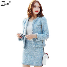 ZAWFL Autumn Winter women Tweed suits tops 2 piece sets female Beaded woolen coat