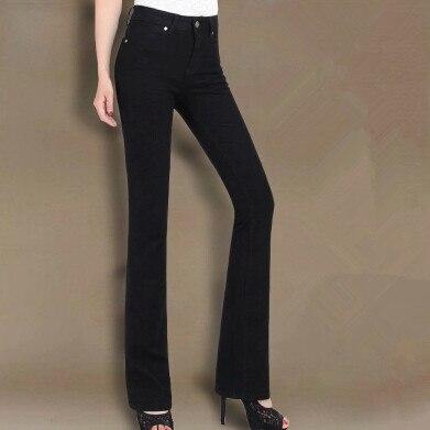 Новинка Осень Весна размера плюс высокая талия широкие ноги динамик женские джинсы брюки женские брюки - Цвет: Черный