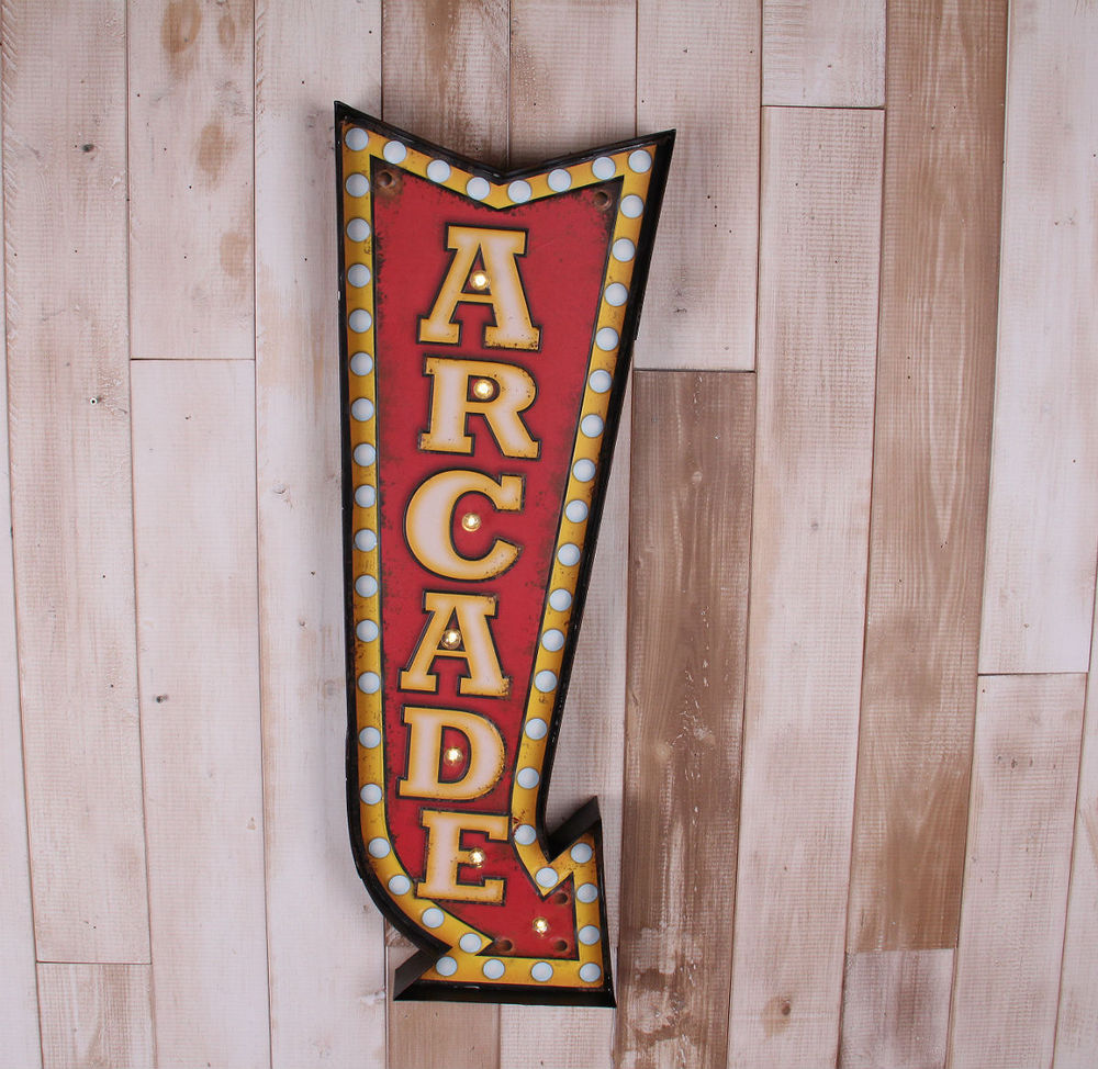 Retro wrought iron arcade signage murals home decor for Decoracion led hogar