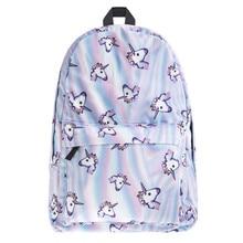 Мода Единорог 3D печати рюкзак для женщин Одежда высшего качества женские traval мешок школьные сумки для девочек-подростков SAC DOS Mochila