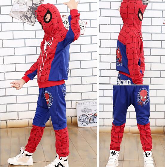ST176 2015 venta caliente niños otoño araña trajes niños ropa deportiva 2 unids. camiseta + pantalones azul/negro color de la ropa de los cabritos al por menor