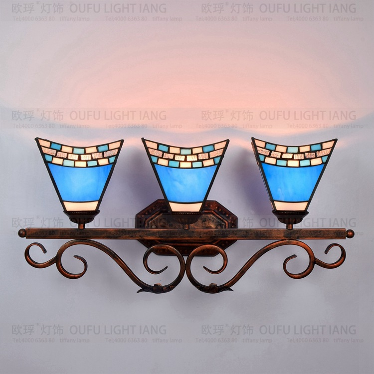 Modern Mediterranean Tiffany style Blue wall lamp stained Glass living room dining room decorative lamp цена 2017