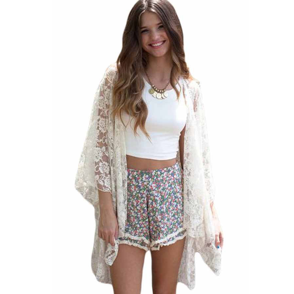 Women Lace Beach Top Swimsuit Cover Up See Through