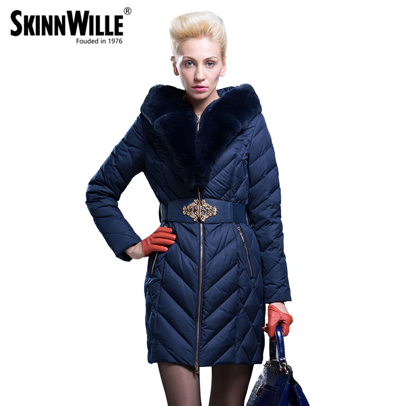 Skinnwille Gish Villmergen Fashion 2017 Fashion High Quality Large Fur Collar Thickening Coat Medium-long Down Female Outerwear