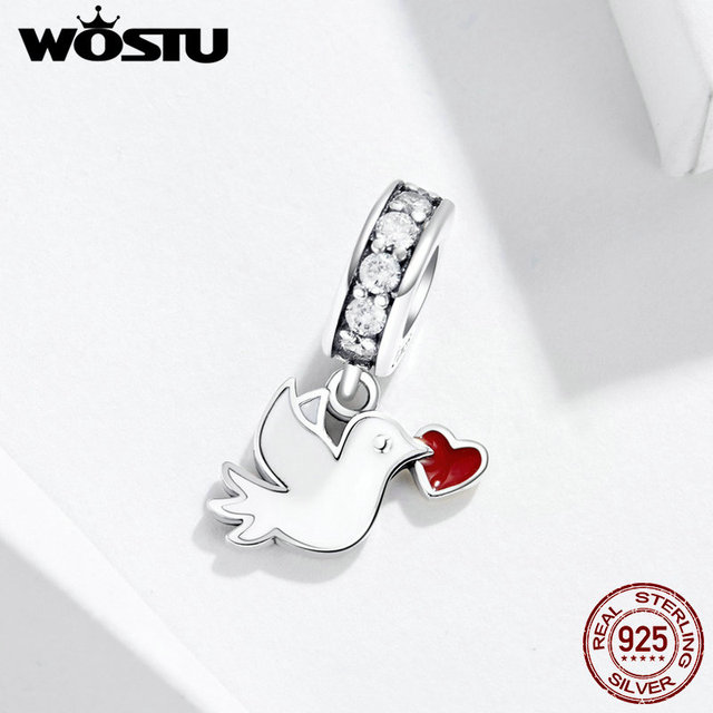 WOSTU Heart Letter Pigeon Dangle Charm 100% 925 Sterling Silver Beads Fit Original Bracelet Pendant Silver 925 Jewelry FIC1227