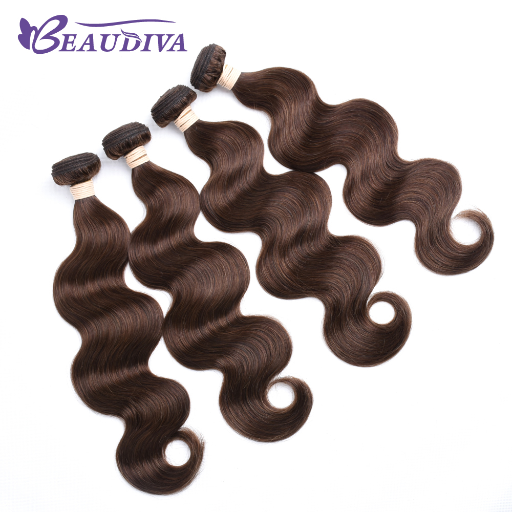 BEAU DIVA Indian Body Wave Hair Weave Bundles 100% Human Hair Extensions Remy Hair Bundles 4# Color only Four Piece Double Weft