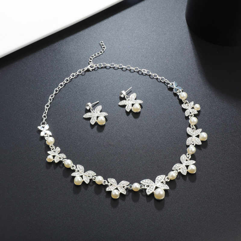 Fashion Pearl Jewelry Sets Flower Chocker Necklace Earrings Pearl Sets For Women Party Jewelry Wedding Jewlery Christmas Gift