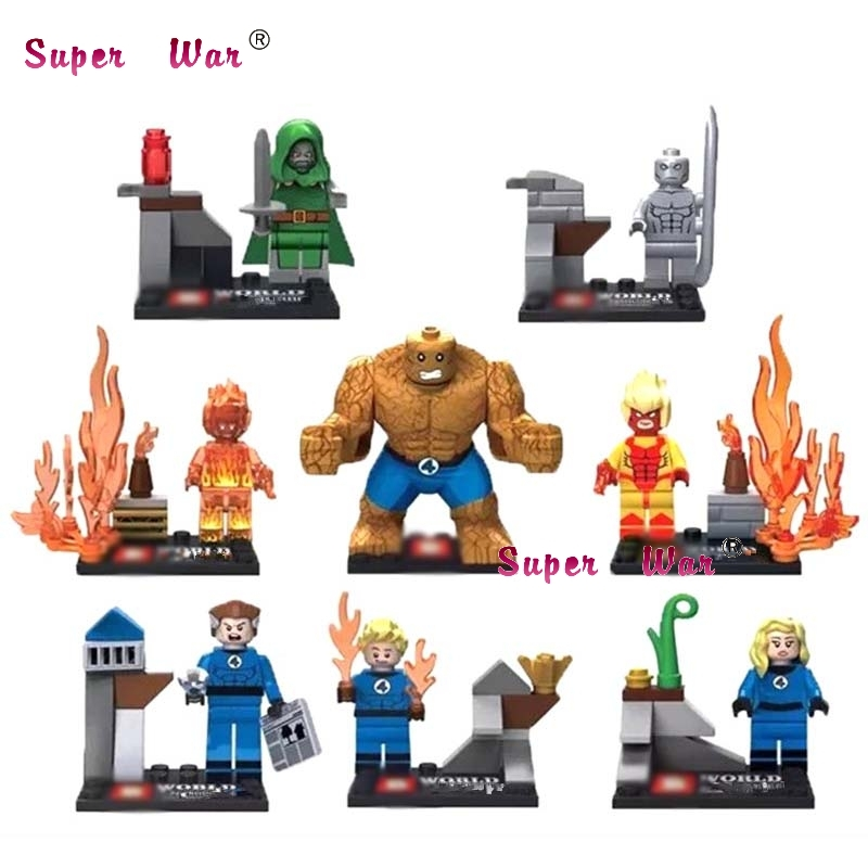 80pcs starwars superhero SY167 Dr. Doom magical stones Mr. Silver Surfer Fantastic Four 4 Invisible Women building blocks toys дал р потрясающий мистер фокс fantastic mr fox