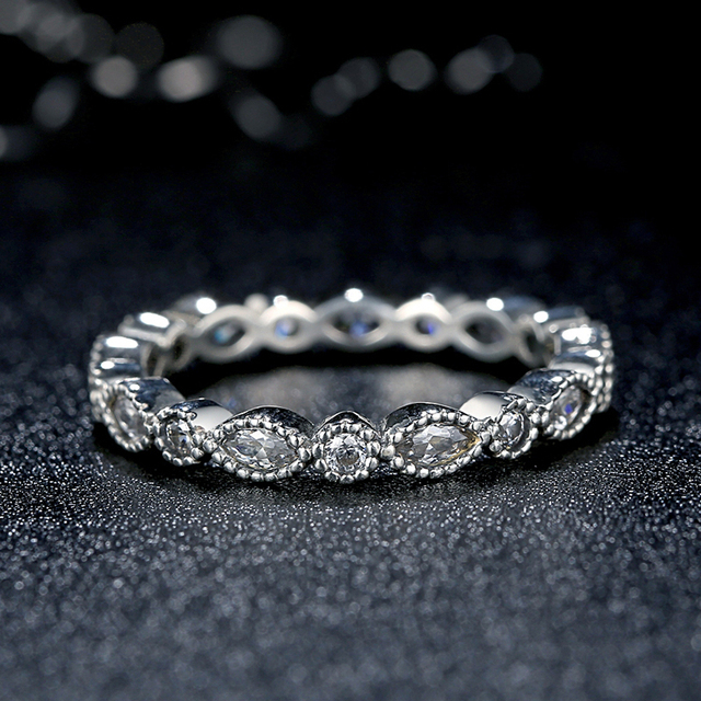 7f4062cff ZMZY Genuine 100% 925 Sterling Silver Alluring Brilliant Marquise Stackable  Ring Pave Clear CZ for Women Fine Jewelry