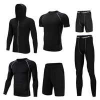 6 Pcs/Set Men's Tracksuit Tights Sports Suit Gym Fitness Compression Clothes Running Jogging Sport Wear Exercise Workout Tights