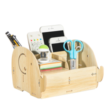 Desk Organizer Office Accessories Wooden Pencil Holder Pen Stand Stationery Wood