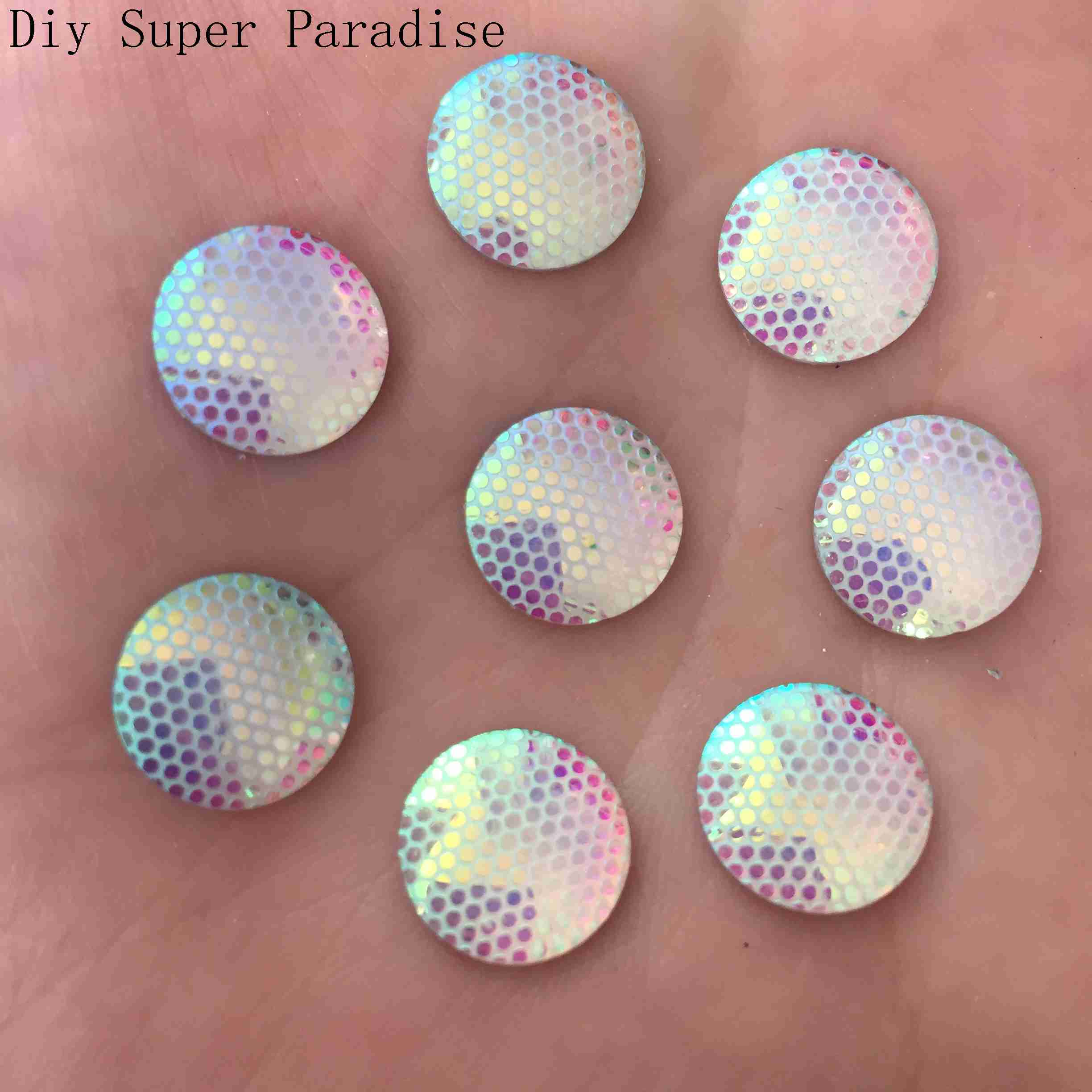 NEW DIY 400PCS 12mm AB Resin Round Rhinestone Flat Back Scrapbook for Phone K71*10