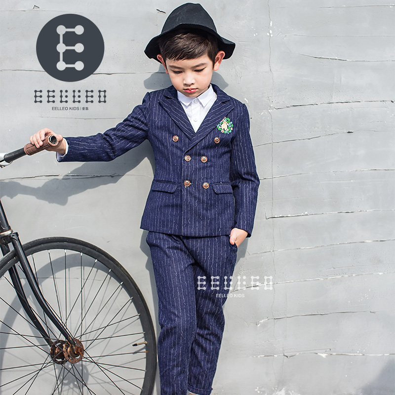 2017 Kids Fashion Boys Formal Wedding Suits Striped Designer For Children Clothing Boy Suit England Style 2pcs Jackets Pant 2017 new boys clothing set camouflage 3 9t boy sports suits kids clothes suit cotton boys tracksuit teenage costume long sleeve