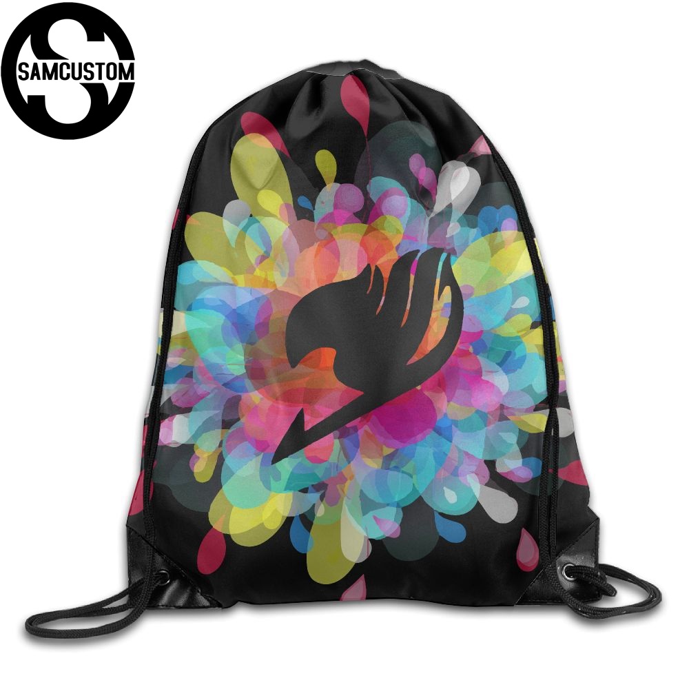 Detail Feedback Questions About SAMCUSTOM Fairy Tail Anime Logo 3D Shoulders Bag Fabric Backpack Men And Women Port Drawstring Travel Shoes Dust Storage