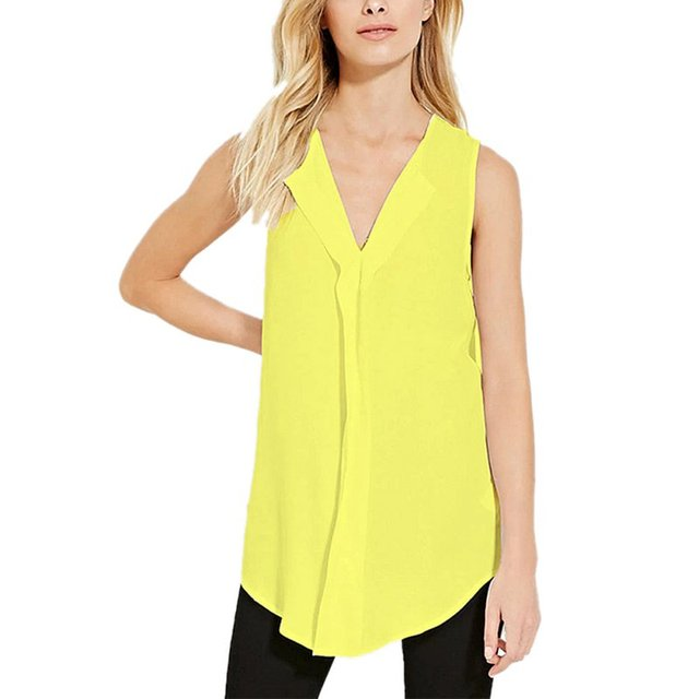 lange mouwloze blouse