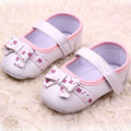 Niño encantador Del Bowknot de La Flor Zapatos del Pesebre Suaves del Bebé Girls PU Cuero Nuevo