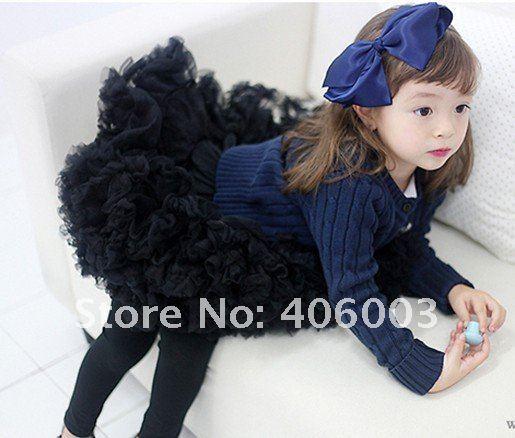 Бесплатная доставка нескольких цветов детские девушки танцуют носить пушистые юбки балетной пачки балетной пачки младенца девушки черная юбка