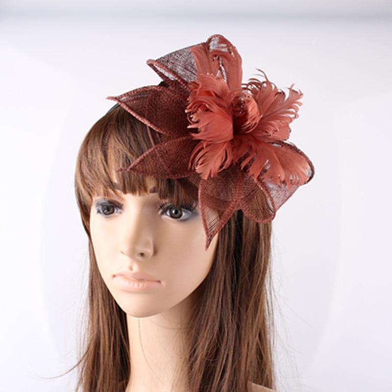 Бесплатная доставка коричневый sinamay fascinators с пером цветок украшен для вечерние головные уборы Свадебные шляпы коктейль шляпы OF153501