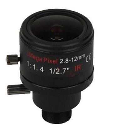(Avec IR filtre) 3 Mégapixels Fixe Iris M12 HD 2.8-12mm À Focale Variable cctv IR HD Lentille, F1.4, mise au point manuelle zoom, angle de vue 90 ~ 28 degrés