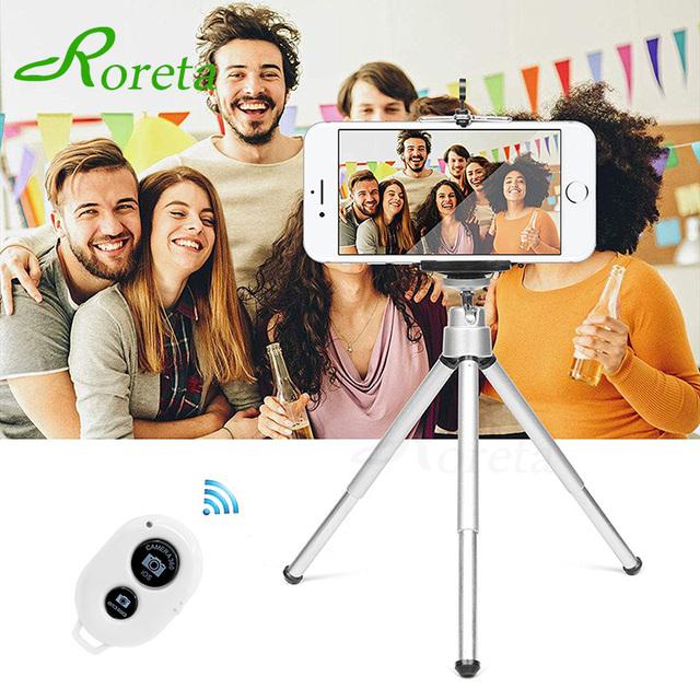 Roreta Mini Tripod With Bluetooth Remote Control For iPhone X 8 7 6S Plus Mobile Phone tripod Bracket Camera Extendable Monopod