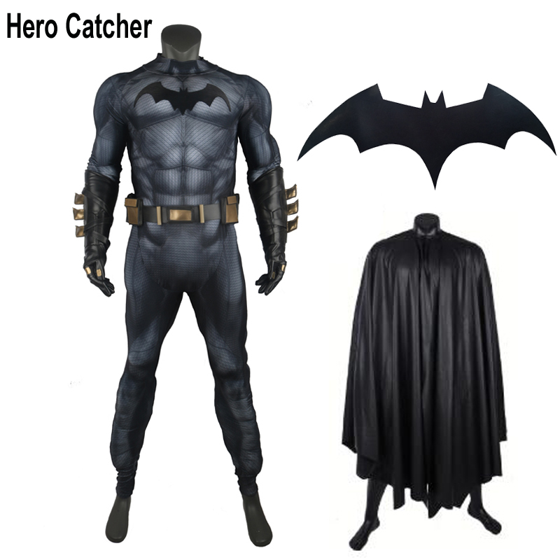 Hero Catcher Top Quality New Muscle Padding Batman Cosplay Costume With Relief Bat 3D Muscle Shade Batman Suit For Men