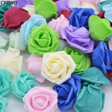 10-50pcs 4cm Fake PE Foam Rose Flower Head Artificial For Wedding Birthday Party Home Decoration DIY Wreath Garland Craft