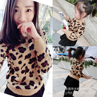 Leopard Print Knit Mother daughter Matching Outfits Sweater Korean Version of Parent child Wear