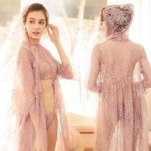 โปร่งใส Intimates ผู้หญิง Robes หญิงหญิงลูกไม้เซ็กซี่ชุดนอนชุดนอนฤดูใบไม้ผลิและชุดชั้นในฤดูร้อนชุดเสื้อคลุมอาบน้ำชุดนอน
