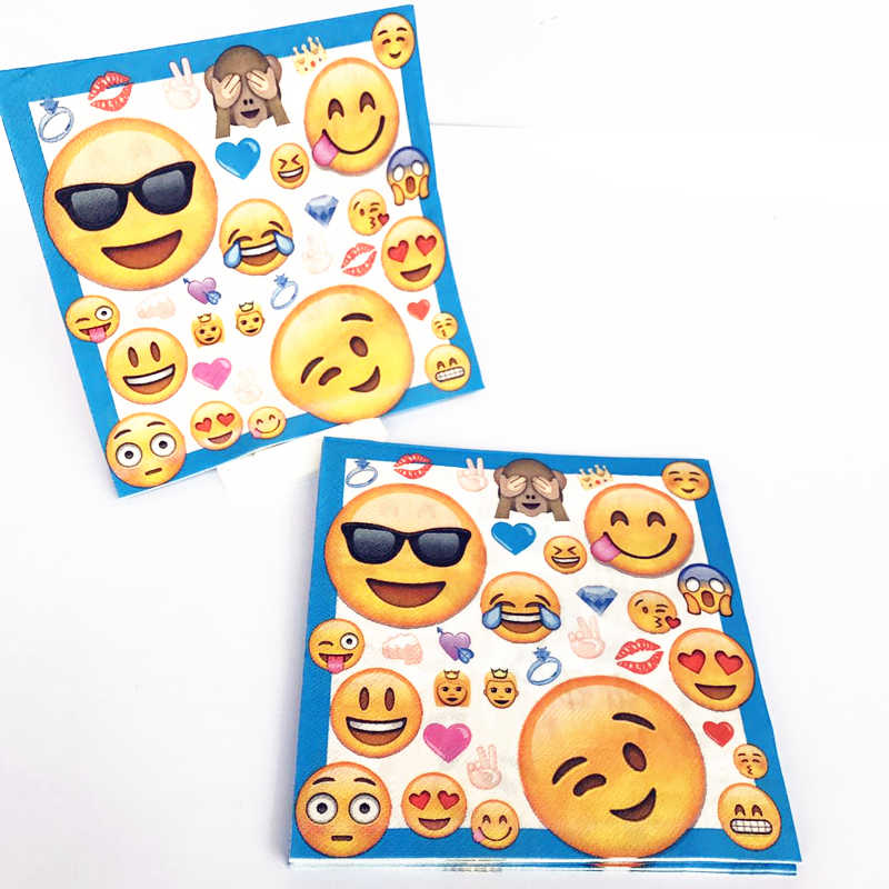 10pcs Emoji Themed Birthday Banner Decorative Napkins Smile Baby Party Ideas Personalized Serviettes Decorations