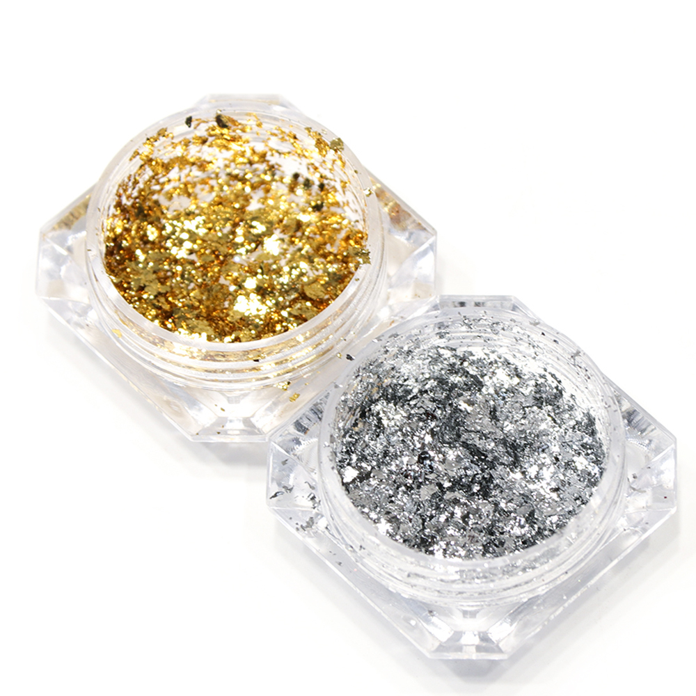 Image 2 - 1pcs Mirror Firework Glitter Nail Powder Sequins Gold Silver Paillette Irregular Shape Chameleon Nail Art Flake Tip LACB01/02-in Nail Glitter from Beauty & Health