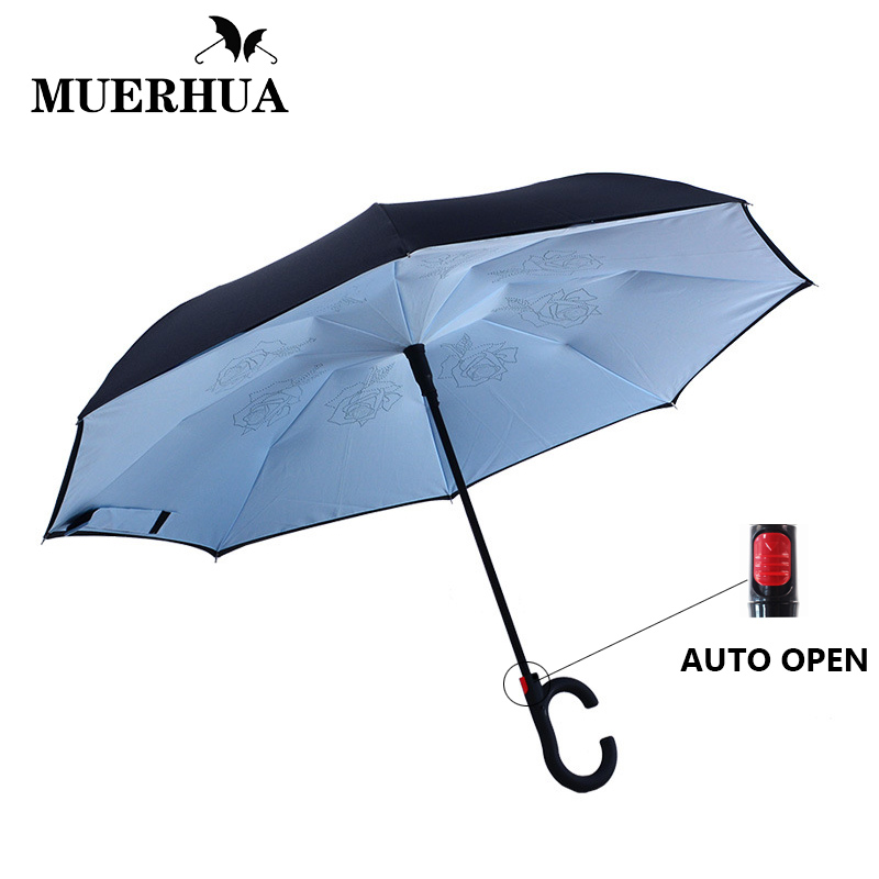 Home Solid Color Inverted Reverse Folding Umbrella For Double Layer Uv Proof Windproof Rain Protection C-hook Hands For Women Men Long Performance Life
