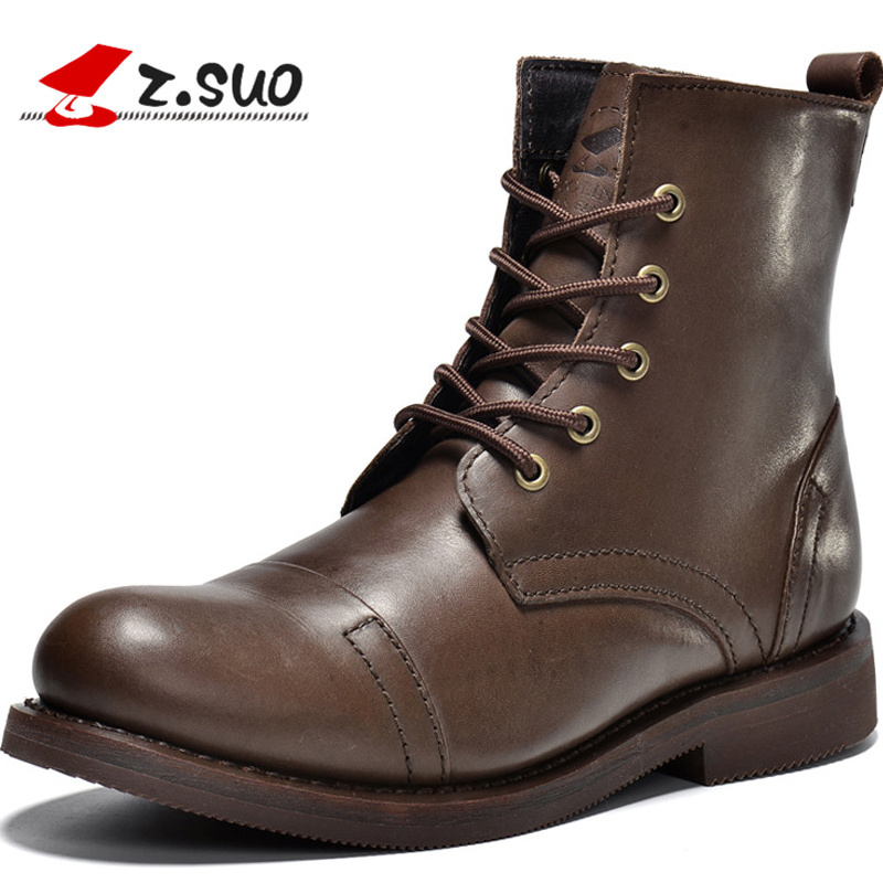 Z.Suo Fashion Winter men shoes Genuine Leather boots Lace-Up Breathable/Comfortable British Style Men's Casual Martin shoes 2017 new spring british retro men shoes breathable sneaker fashion boots men casual shoes handmade fashion comfortable breathabl