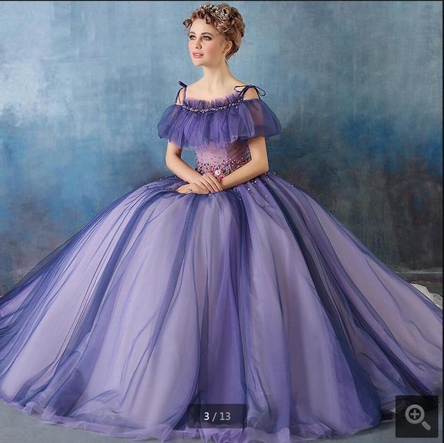 Purple Ball Gown Stylish Wedding Dress 2016 Fashion Off The Shoulder Short Sleeve Princess Gowns