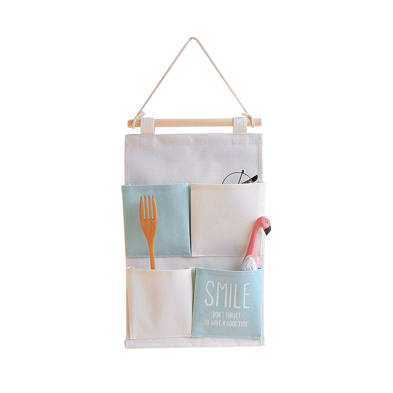 Canvas Pocket Hanging Organizers Wall Door Closet Decor Storage Bags Clothes Hanger Home ...