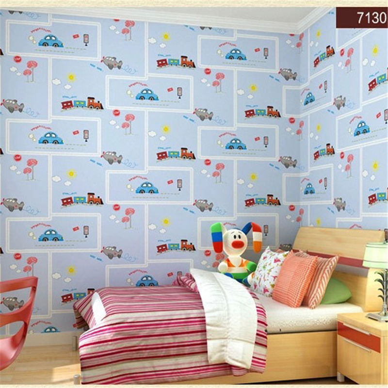 beibehang friendly Lovely Cartoon Cars Wallpapers Roll Kids Room Decoration Wall Paper roll Non-woven Boys Bedroom Wallpaper цена