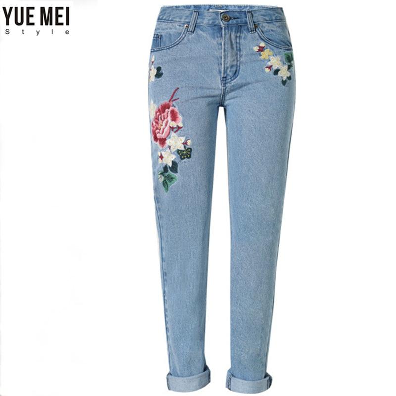 Autumn  Woman Jeans women  Straight  Rose embroidery light blue demin pants bazaleas 2017 spring pockets straight denim jeans women bottom flower embroidery jeans female light blue casual pants capris