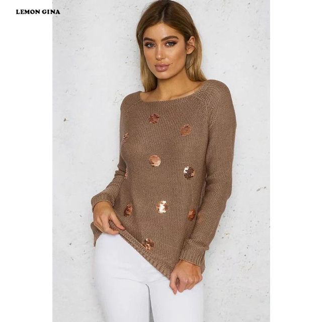 456bd7df7b Lemon Gina Women Classic Sequined O-neck Full Sleeve Winter Sweater Knitted  Office Lady Sweaters