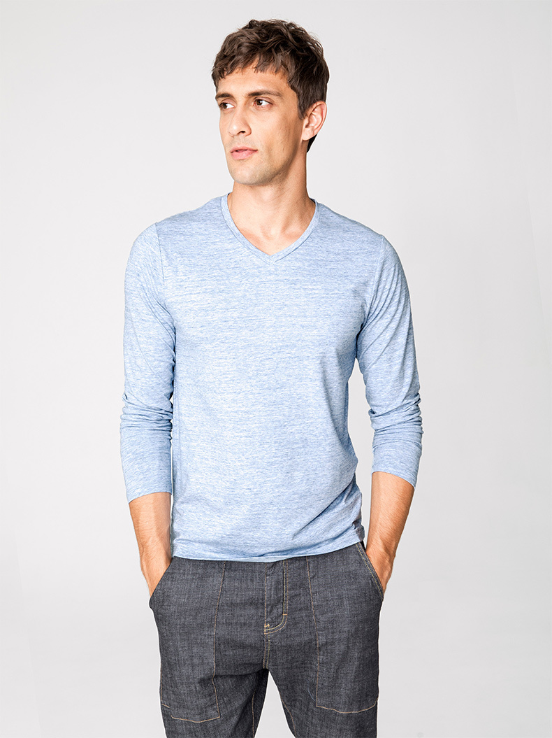 Autumn Men T Shirt Cotton V-Neck Blue Color For Man Casual Long Sleeve Slim Fit T-Shirt Male Wear 2018 New Tops Tee Shirt 268 12