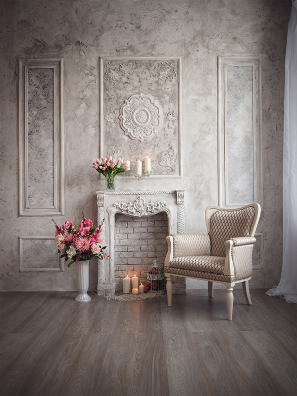 Dressing Table Pink Flowers White Wall Chair Wood