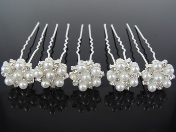 200 Pcs Wedding Bridal Pearl & Crystal Flower Hair Pins Hair Accessory New Arrive