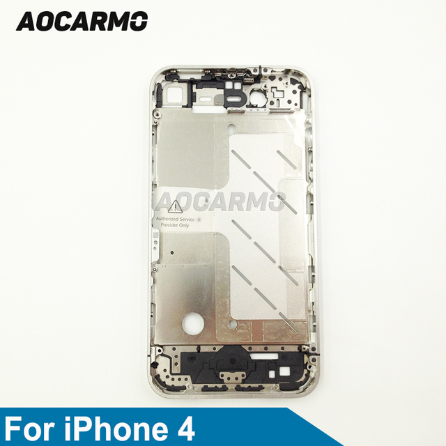 Aocarmo Metal Silver Middle Frame Bezel Housing Plate Board With Battery Sticker For iPhone 4