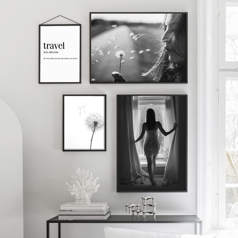 Dandelion Travel Landscape Sexy Girl Wall Art Canvas Painting Nordic Posters And Prints Wall Pictures For Living Room Wall Decor in Painting Calligraphy from Home Garden