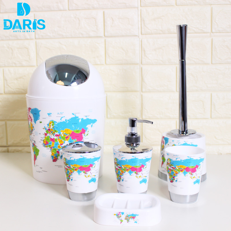 Designer New Creative Printing World Map Bathroom Accessories Products Bath Set Limited Famliy 6pcs Introduction