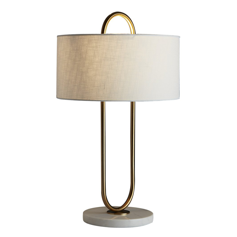 New arrival LED Table lamps desk deco lighting lamp Post modern cloth shade marble base study foyer antique gold reading light